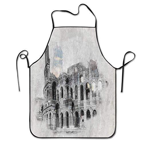 N\A Ruinas históricas Antiguas Coliseo Obra Italia Roma Antigua Inspiración Cultural Beige Negro Cocina Cocina Restaurante Bar Delantal Delantal Elegante Delantal de Chef Delantal Unisex