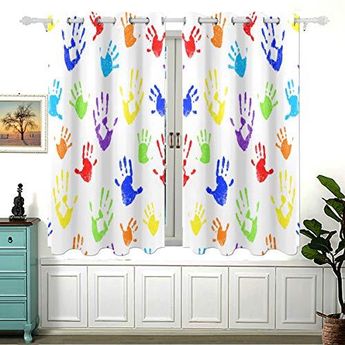 Encantadoras y coloridas impresiones a mano para el dormitorio, cortinas oscurecedoras para ventanas de baño, cortinas corredizas de cocina, juego de cortinas modernas con ojales opacos con aislamien