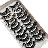 PLEELL 10 Pairs Mixed Mink False Eyelashes Faux 5D Wispy Fluffy Natural Look Dramatic Long Soft Fake Lashes Pack Handmade Reusable Eyelashes Makeup Thick Lashes 10 Styles