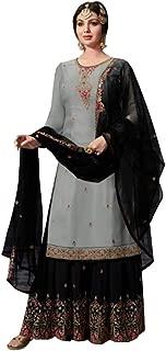 Grey Pakistani Satin Swarovski Georgette Sharara Suit Muslim Wedding Salwar Kameez Net Dupatta Dress Indian 7324