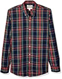 Goodthreads Slim-Fit Long-Sleeve Plaid Poplin Shirt button-down-shirts, Navy Oversized Tartan, Medium