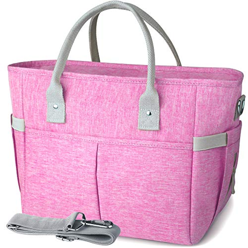 KIPBELIF Insulated Lunch Bags for Women - Large Tote Adult Lunch Box for Women with Shoulder Strap, Side Pockets and Water Bottle Holder, Rose Pink, Normal Size