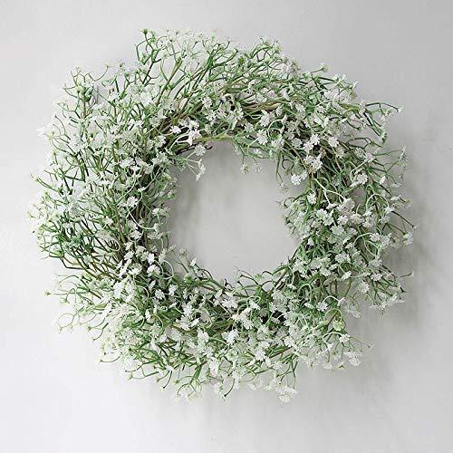 Gorei Gypsophila Baby Breath Flower Wreath Handmade Artificial Flower Silk Wreath for Front Door House Wall Wedding Decoration