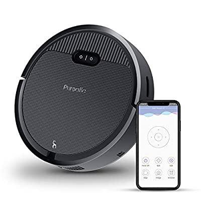 Premium Automatic Robot Vacuum Cleaner, 1500Pa Powerful Suction, 650ML Large Dust Box, Smart App Control/Self-Charging/Anti-Collision, Good for Pet Hair, Hard Floor and Low Pile Carpets (Black)