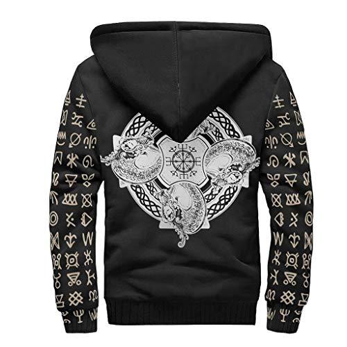 O5KFD&8 Männlich Reißverschluss Vorne Winter Vlies Kapuzenjacke Jungen Viking Man Design Retro - Baumwolle Weich Uniform für Geburtstagsgeschenk white9 2XL