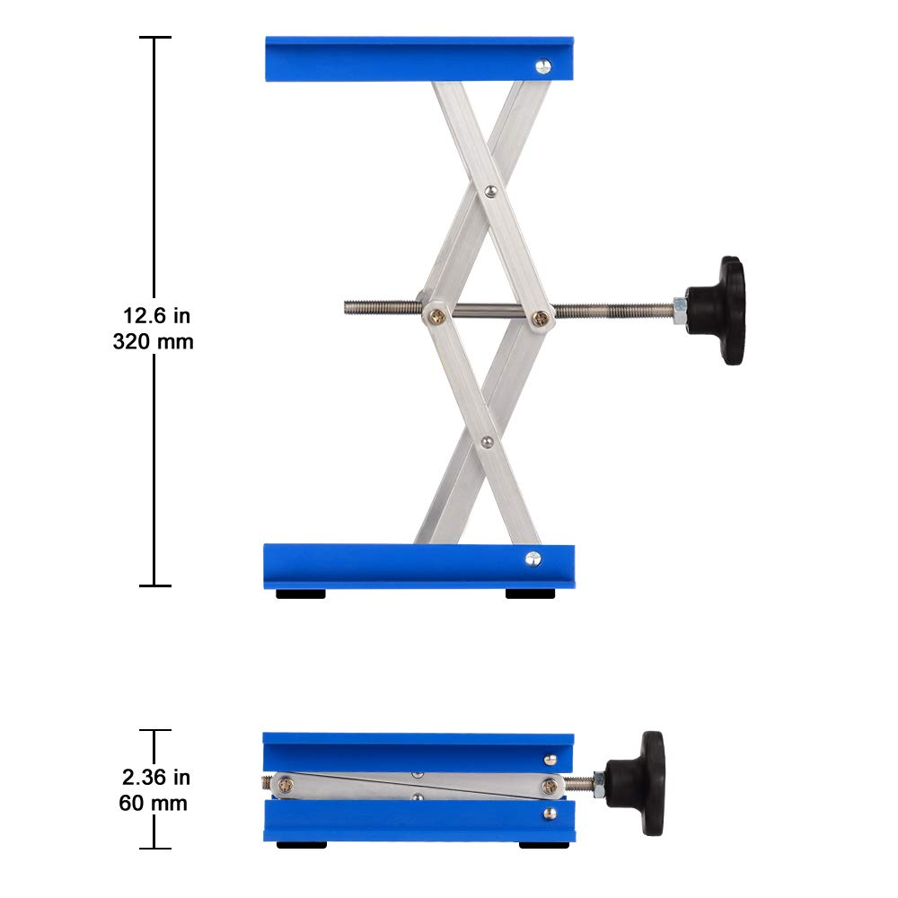 stonylab 8x8 inch Lab Jack 200x200 mm Anodized Alumunium Top Deck Laboratory Support Jack Platform Lab Lift Stand Table Scissor Jack with 15 KG Support Weight 67 to 315 mm Vertical Lift Range