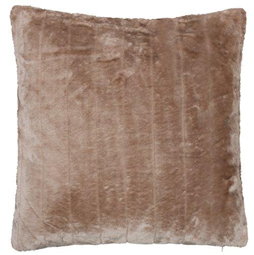 Brandsseller Coussin décoratif en fausse fourrure de vison - Particulièrement doux et confortable - Différents motifs (50 x 50 cm, taupe/gris)