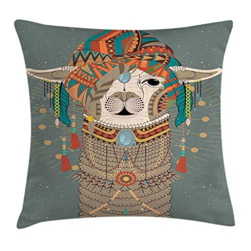 QUEMIN Llama Throw Pillow Cojín, Colorido Sombrero con Llama con Accesorios, Pendientes, Collar, Animal Abstracto, Cuadrado Decorativo, 18'x 18', Gris Verde