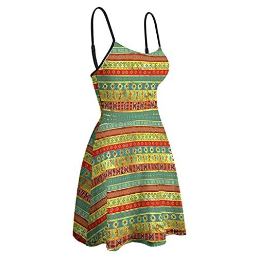 kikomia Vestido de mujer con tirantes finos, ajustable, multicolor, africano, étnico, estampado estampado, vestido corto de verano blanco S