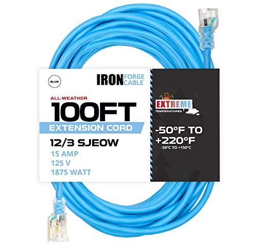 100 Ft All Weather Extension Cord - Stays Flexible in Extreme Cold & Hot Temperatures from -58°F to +221°F - 12/3 SJEOW Heavy Duty Lighted Outdoor Extension Cable