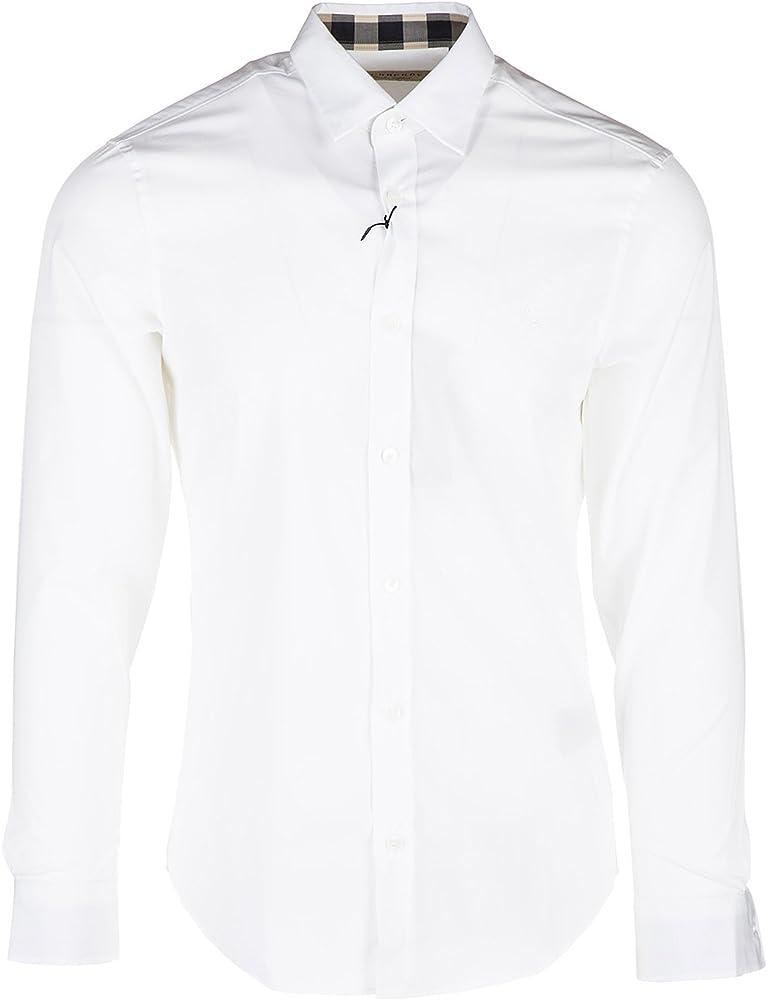 Burberry cambridge, camicia manica lunga da uomo, bianca, 97% cotton,  3% elastane 3991161