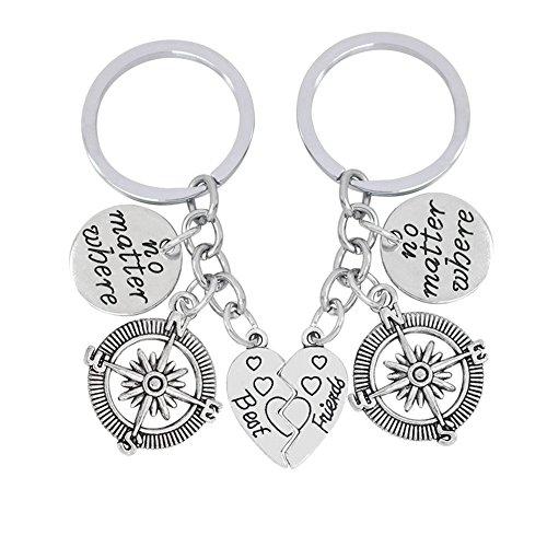 7-Almond 2pcs/set BBF Best Friends Key Chain Ring No Matter Where Compass Split Broken Heart Friendship Gift Key Chain Key Ring