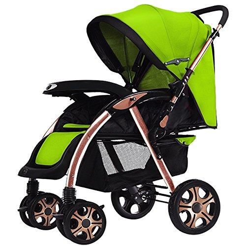 Baby carriage Chariot bébé pour enfants, poussette bébé, peut s'asseoir peut se placer sur une voiture parapluie à double voie à double voie portable ultra léger (Couleur : Vert)