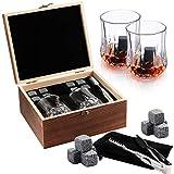 Set regalo di 8 pietre da whisky in granito naturale + 2 bicchieri di cristallo e sacchetto di velluto, pinze di lusso, regali per uomini/donne