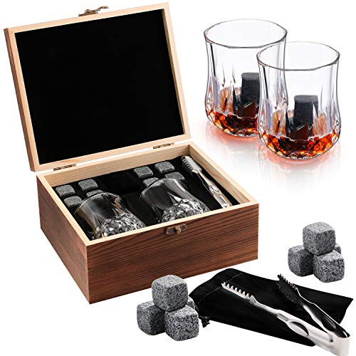 Whiskey Set da 2 Whisky Stones 8 PCS Pinze & Borsa Ghiaccio - Regalo Boutique per Gli Amanti del Whisky