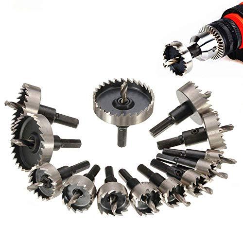 Yongenee 13pcs 16-53mm Broca agujero consideró el sistema, HSS carburo orificio de la boquilla de acero de alta velocidad de diente de sierra cortador Bits agujero de perforación Herramientas for el p