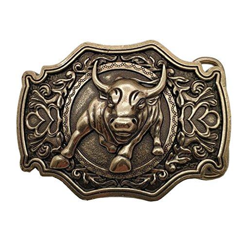 YONE 3D Bull Bronze Belt Buckle Western Metal Cowboy Boucle de ceinture