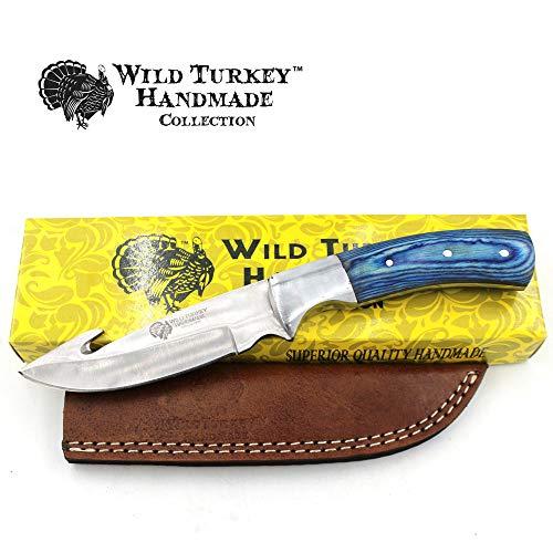 Wild Turkey Handmade Collection Wood Handle Fixed Blade Gut Hook Knife w/Leather Sheath