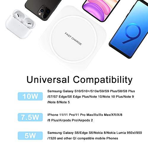 Wireless Charger 10W Kabelloses Ladegerät Qi Ladestation Schnellladen für Samsung Galaxy S10/S10+/S9/S8, Huawei P30 Pro/Mate 20 Pro, 7.5W für iPhone 11/11 Pro/XS Max/XR/X/8/8 Plus/Airpods 2 - 3