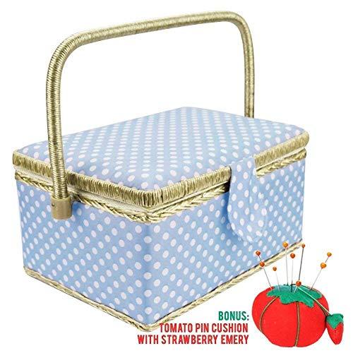 Large Sewing Basket with Accessories Sewing Kit Storage and Organizer with Complete Sewing Tools - Wooden Sewing Box with Removable Tray and Tomato Pincushion for Sewing Mending - Blue