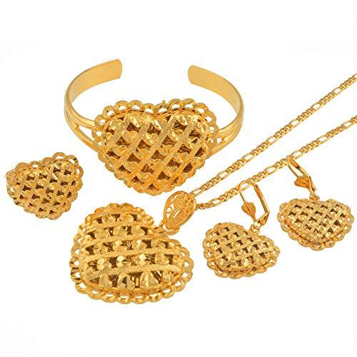 VAWAA Afrikanische Herz Schmuck Sets Äthiopische Gold Farbe Hochzeit Halskette Ohrringe Armreif Ring Dubai Arabische Braut Schmuck 45 cm Durch 3mm Kette