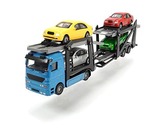 Dickie Toys 203745000 - Camion Transporteur Miniature de Voitures avec Quatre Voitures, 28 cm