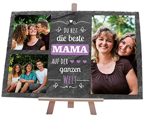 wandmotiv24 Schiefertafel Beste Mama, Personalisiert mit Ihren Farbfotos, Schieferschild 3 Motive inkl. Spruch, Holz-Staffelei, Querformat 30x20cm, Natur...
