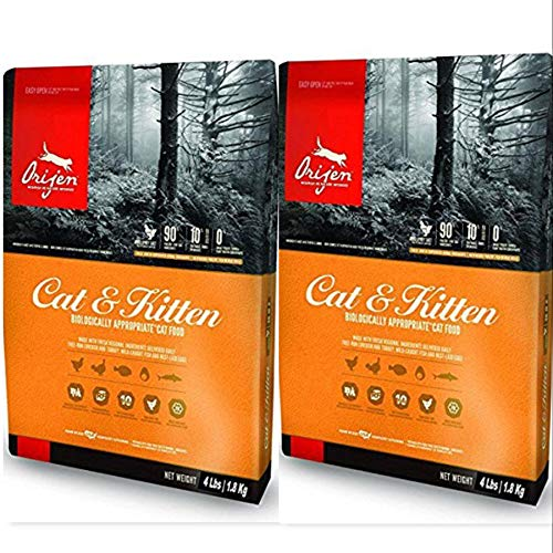 Orijen Dry Cat and Kitten Food 4 Pound Bags. (2 Pack) Biologically...