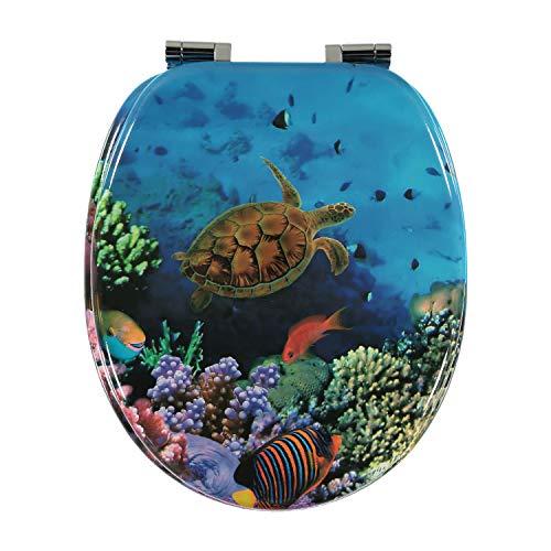 Premium MDF Toilettensitz WC-Sitz mit Absenkautomatik und verzinkten Scharnieren, Holz (Korallen und Fische)