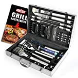 Vysta 29 Piece Grill Accessories Tools Set - BBQ Utensils with Carrying Case - Stainless Steel Outdoor Cooking Grilling - Barbeque Kit Includes Meat Thermometer, Brushes, Barbecue Scraper and Tongs