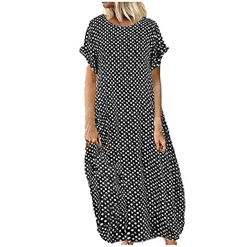 Sommerkleid Damen Kaftan Maxi Lang Kleider Sommer Polka Dots Plus Size Maxikleid für Frauen Kurzarm Baggy Lose Vintage Lange Kleid Elegant Beiläufige Größere Größe Abendkleid Strandkleid Partykleid