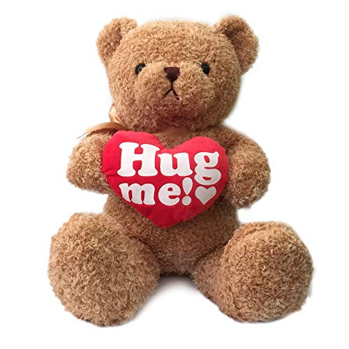 Hug me! 16 Inches Teddy Bear Stuffed Animal for Girlfriend with Red Heart, Small Plush Bear Toy for...