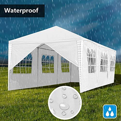VINGO 3x9m Pavillon Wasserdicht Gartenpavillon weiß Stabiles Partyzelt Festzelt mit 8 Seitenteile Material PE-Plane für Garten Festival Party - 7