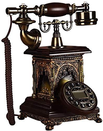 AWAING Telefonos Antiguos Vintage Teléfono Fijo Retro con Cable para el hogar, teléfono de Escritorio Vintage con Pantalla de Fondo Azul y remarcación, Altavoz, identificador de Llamadas, marcació