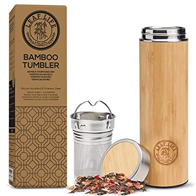 LeafLife Pemium Bamboo Thermos with Tea Infuser & Strainer- 17oz capacity- Keeps Hot & Cold for 12 Hrs- Vacuum Insulated Stainless Steel Travel Tea Tumbler- Infuser Bottle for Loose Leaf Tea & Coffee by Leaflife