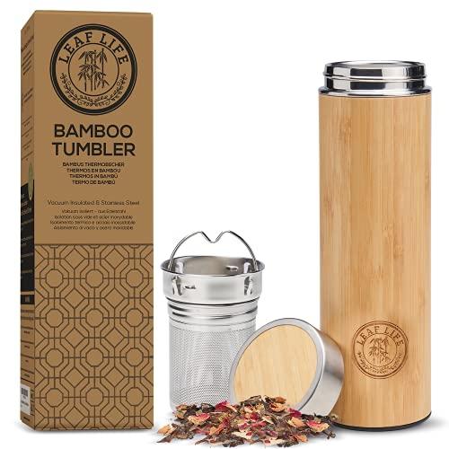 LeafLife Premium Bamboo Thermos with Tea...
