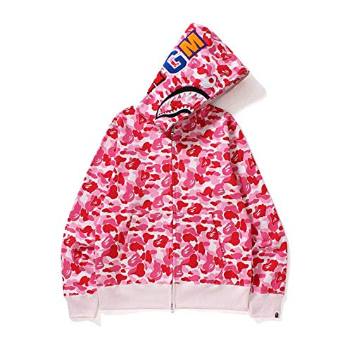 Bape Shark Hoodie, felpa con cappuccio a maniche lunghe, unisex, con stampa graffiti, per aumentare il valore fresco del 100%, rosa, M