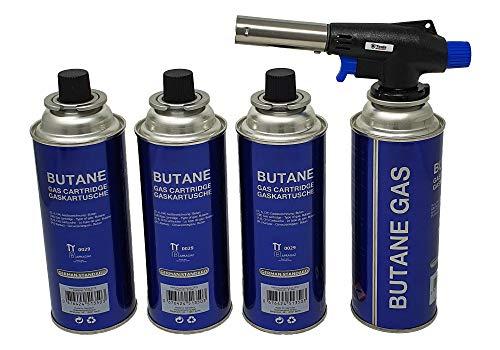 Lötbrenner mit 4 Gaskartuschen Butan Gasbrenner Gasanzünder Lötlampe mit Piezozündung Bajonett Anschluss Set
