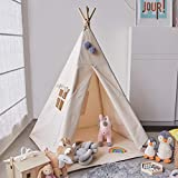 Avrsol Teepee Tent for Kids, Natural Cotton Canvas Foldable Children Teepee Play Tent for Girl Boy Indoor with Gift 2 Pompoms 3.15'