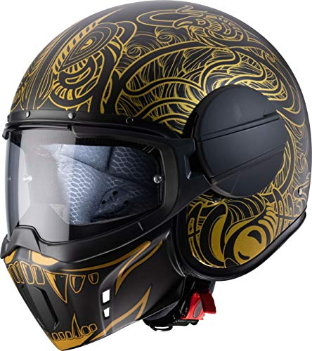 Caberg - Casco Jet Ghost Maori Matt, color negro y dorado L