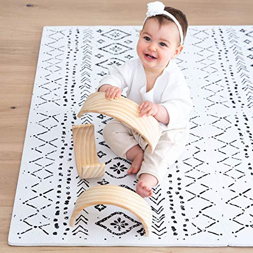 Lillefolk Stylish Baby Play Mat. Soft, Thick, Non-Toxic Foam, Covers 6 ft x 4 ft. Large Infants, Kids Floor Playmat with Interlocking Puzzle Tiles for Tummy Time and Crawling. Neutral Color (Boho)