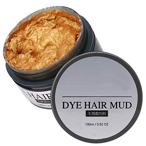 Professionelle Haarfärbemittel Schlamm, Home DIY Haarfärbemittel Wachs Färbecreme Styling Tool Golden Purple Praktische Haarfärbemittel Schlamm(Gold)