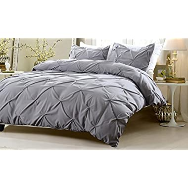 3pc Pinch Pleat Design Gray Duvet Cover Set Style # 1006 - King/California King - Cherry Hill Collection