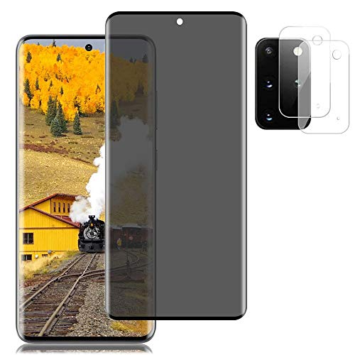 "[1+2] Galaxy S20 Plus Screen Protector + Camera lens film [9H Hardness] [3D Full Coverage] [Bubble-Free] Privacy Tempered Glass protection film, For Samsung Galaxy S20 Plus/S20 + 5G (6.7"")"