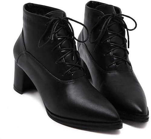 6.5cm Chunkly Talon Pointe Toe Bottines Bottes Bottes Martin Femmes Chaussures habillées à pied Chaussures Chaussures Chevalier Chaussures Taille 34-40  sortie en vente