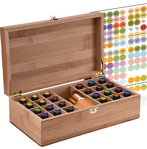 NiceMeet Caja de Bambú de Almacenamiento de Aceite Esencial de 25 Ranuras Organizador - Almacenamiento 5 a 10 ml de Botellas de Aceites Esenciales y Perfume