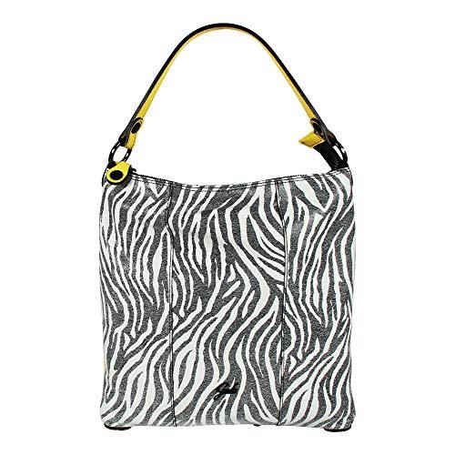 Gabs Damen Schultertasche SOFIA M Hobo Bag Zebra Lemon (schwarz weiß gelb)