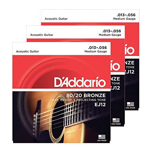 D'Addario EJ12-3D 80/12 Bronzesaiten für Akustikgitarre, mittlere Spannung, 13-56, 3 Sätze