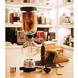CASILE Cafetera Vidrio Alambique Estilo Retro con Calentador de Gas y Accesorios decuado para cafeter/ías oficinas