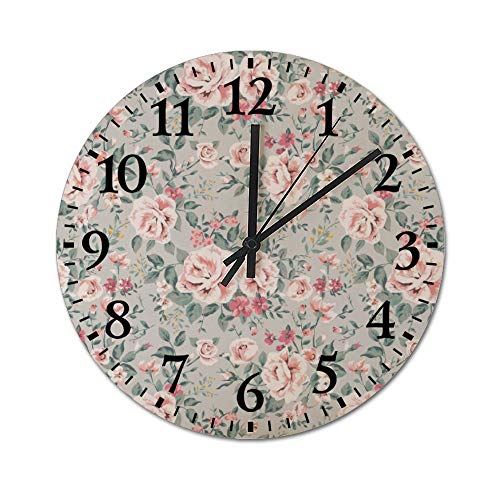 DKISEE Silent Wooden Wall Clock Vintage Pink Roses Decorative Simple R